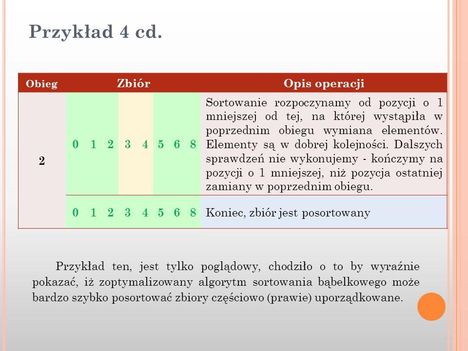 Przykład 4 cd. Zbiór Opis operacji 2 1 3 4 5 6 8
