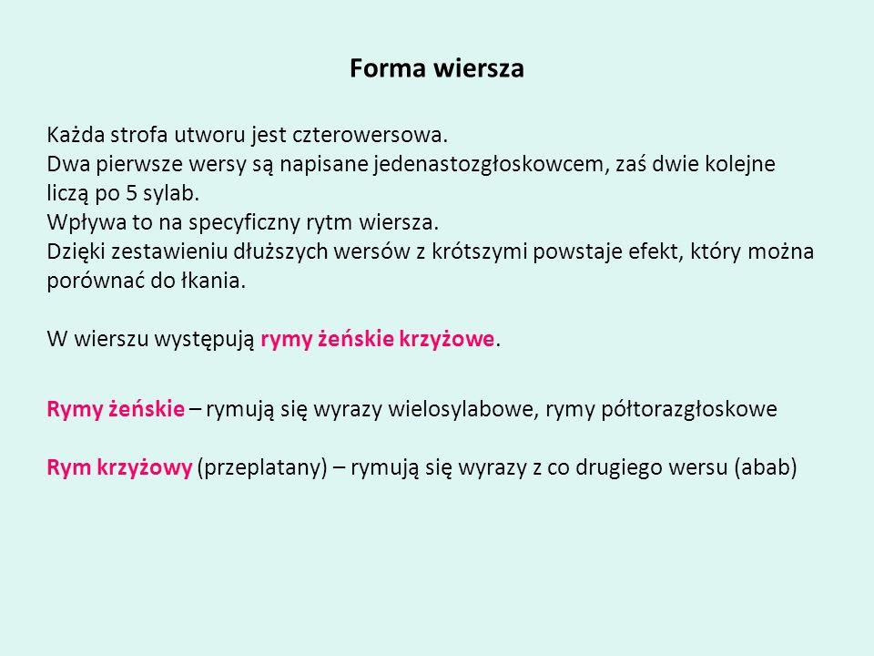 Forma wiersza Każda strofa utworu jest czterowersowa.