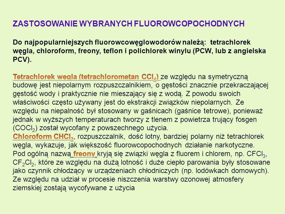 Zastosowanie wybranych fluorowcopochodnych