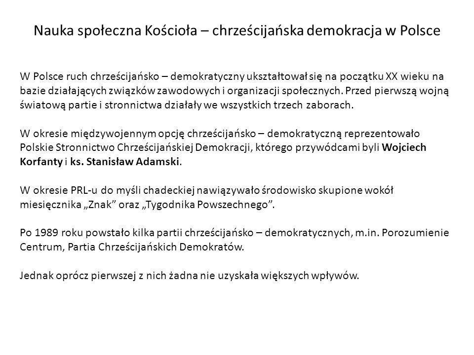 Nauka społeczna Kościoła – chrześcijańska demokracja w Polsce