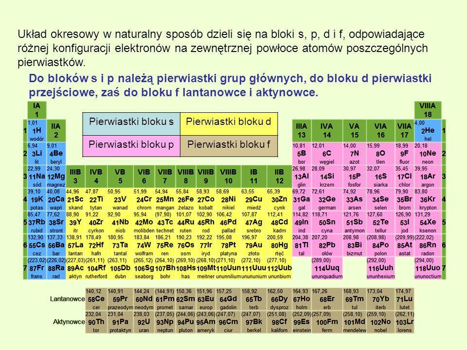 Układ okresowy w naturalny sposób dzieli się na bloki s, p, d i f, odpowiadające różnej konfiguracji elektronów na zewnętrznej powłoce atomów poszczególnych pierwiastków.