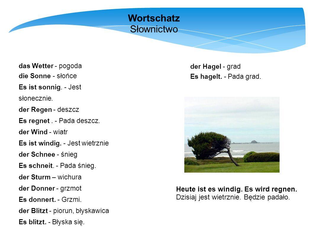 Wortschatz Słownictwo Heute ist es windig. Es wird regnen.