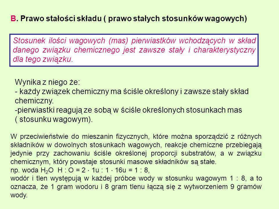 B. Prawo stałości składu ( prawo stałych stosunków wagowych)