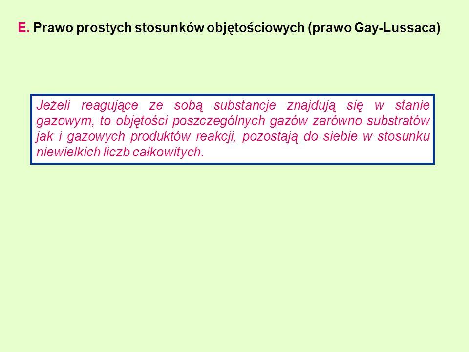 E. Prawo prostych stosunków objętościowych (prawo Gay-Lussaca)