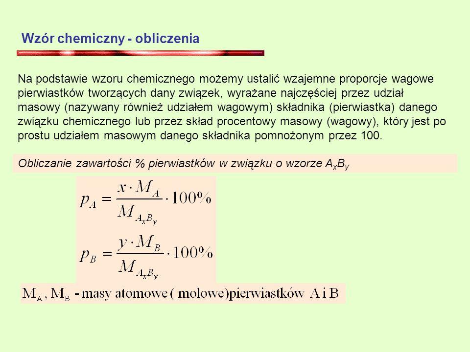 Wzór chemiczny - obliczenia
