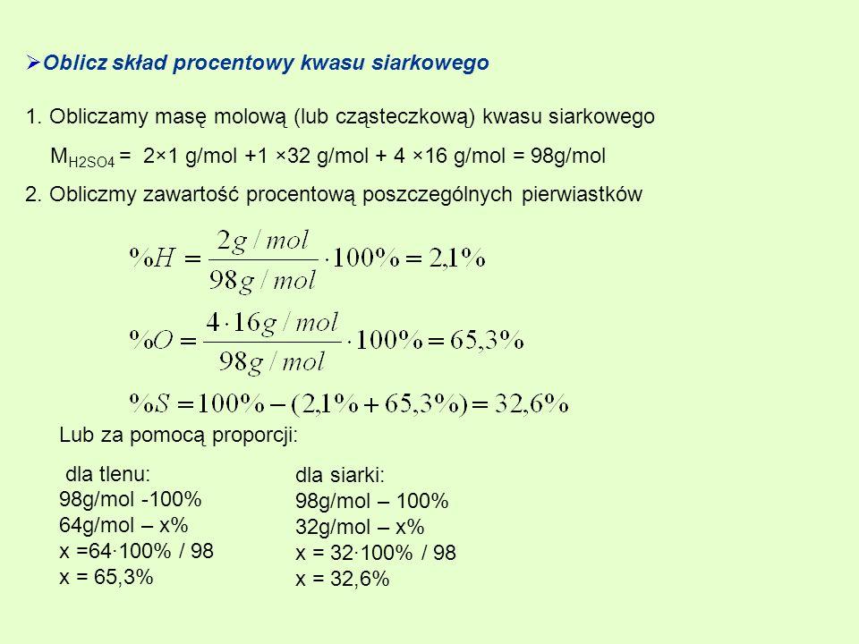 Oblicz skład procentowy kwasu siarkowego