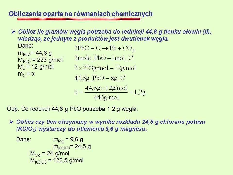 Obliczenia oparte na równaniach chemicznych