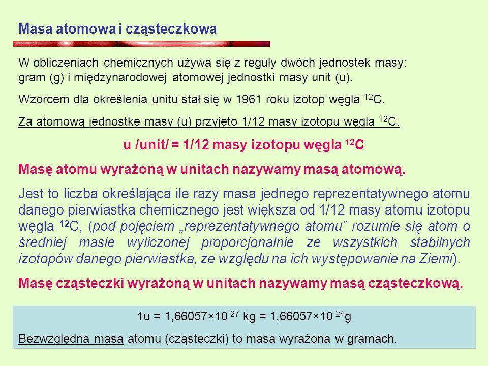 u /unit/ = 1/12 masy izotopu węgla 12C