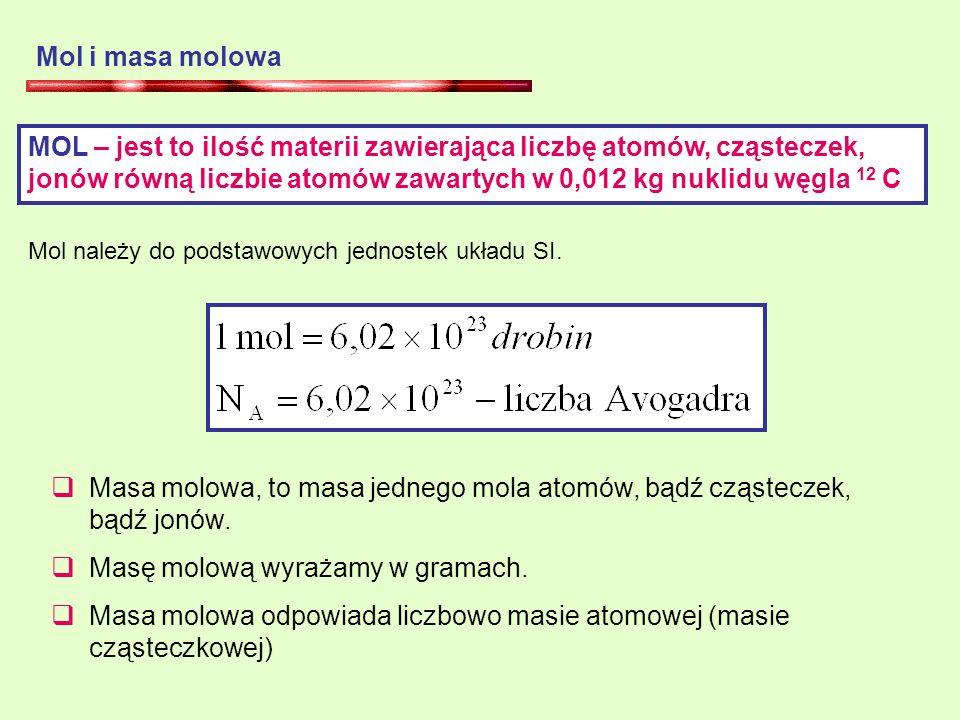 Masa molowa, to masa jednego mola atomów, bądź cząsteczek, bądź jonów.