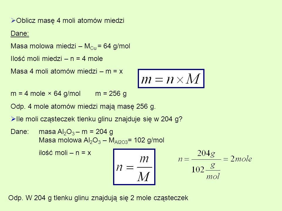 Oblicz masę 4 moli atomów miedzi