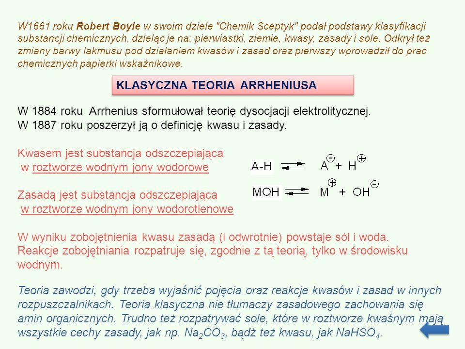 KLASYCZNA TEORIA ARRHENIUSA