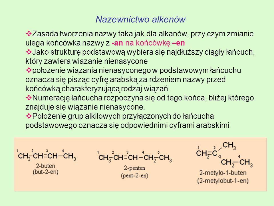 Nazewnictwo alkenów Zasada tworzenia nazwy taka jak dla alkanów, przy czym zmianie ulega końcówka nazwy z -an na końcówkę –en.