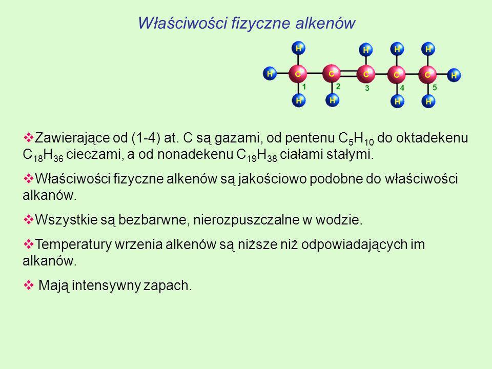 Właściwości fizyczne alkenów