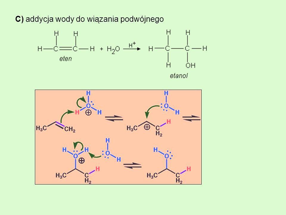 C) addycja wody do wiązania podwójnego