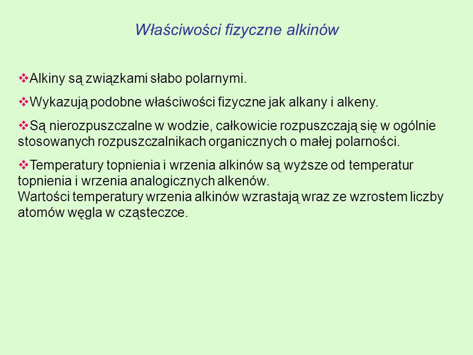 Właściwości fizyczne alkinów