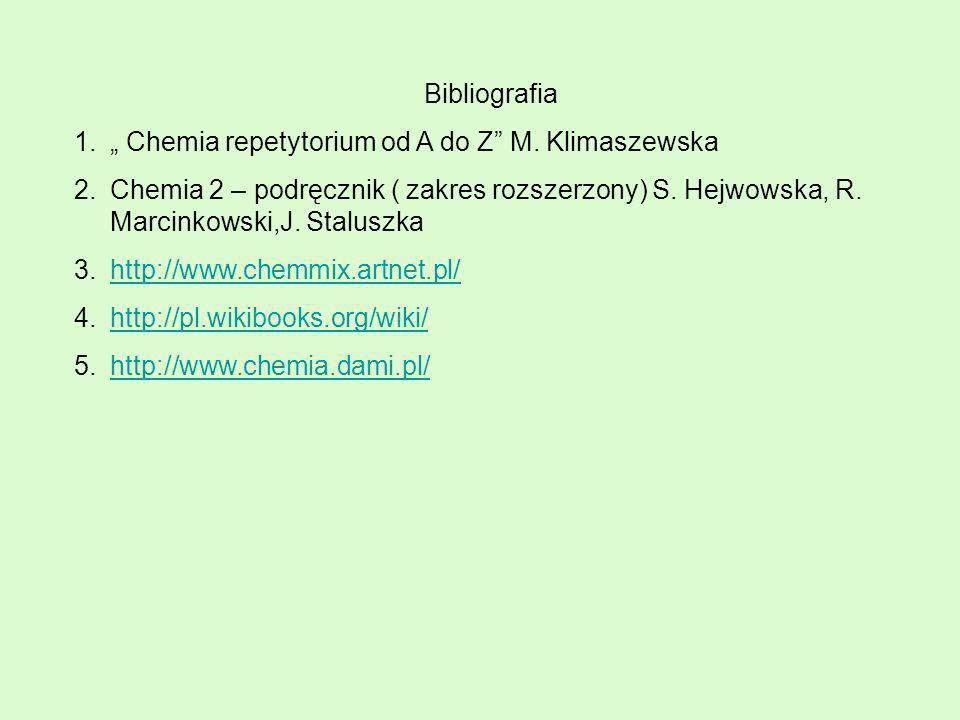 """Bibliografia """" Chemia repetytorium od A do Z M. Klimaszewska."""