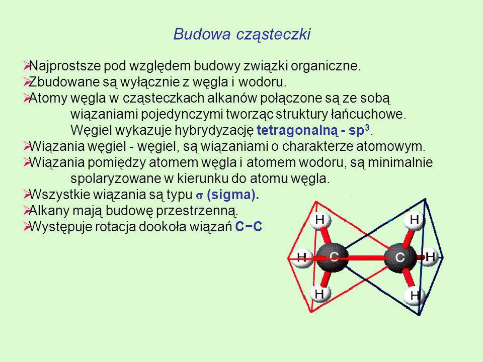 Budowa cząsteczki Najprostsze pod względem budowy związki organiczne.