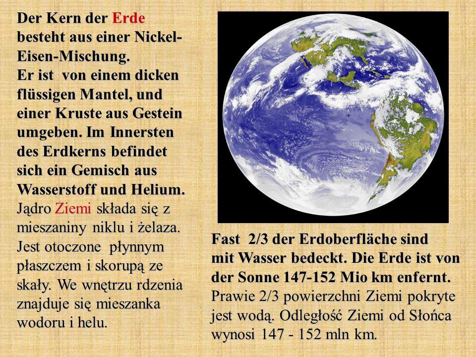 Der Kern der Erde besteht aus einer Nickel- Eisen-Mischung