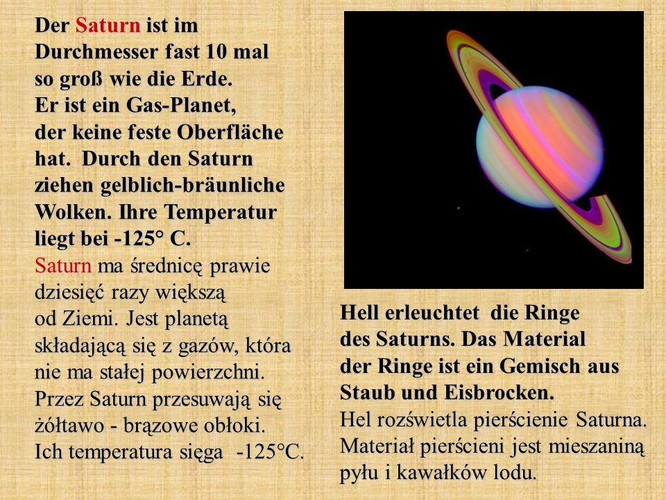 Der Saturn ist im Durchmesser fast 10 mal so groß wie die Erde
