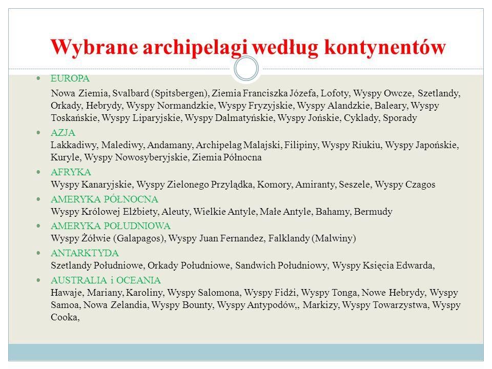 Wybrane archipelagi według kontynentów
