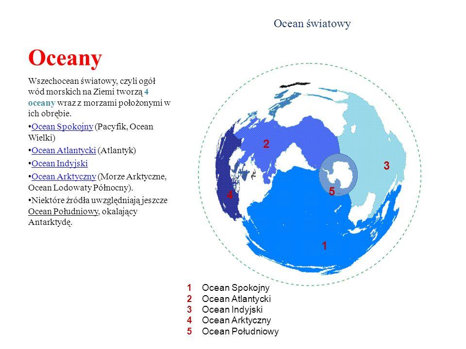 Oceany Ocean światowy. Wszechocean światowy, czyli ogół wód morskich na Ziemi tworzą 4 oceany wraz z morzami położonymi w ich obrębie.