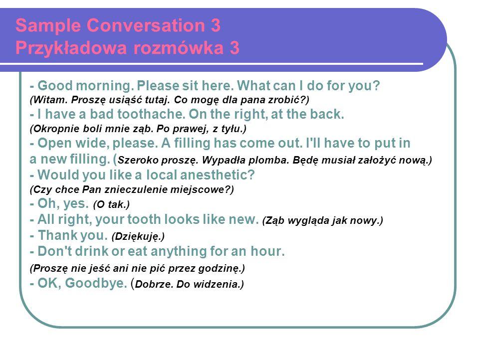 Sample Conversation 3 Przykładowa rozmówka 3