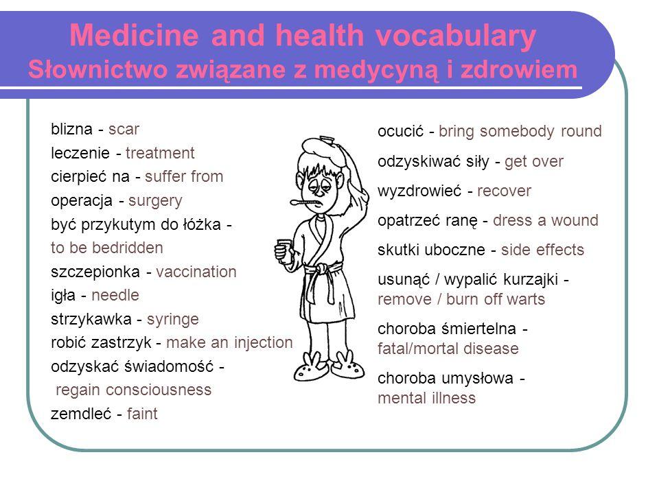 Medicine and health vocabulary Słownictwo związane z medycyną i zdrowiem