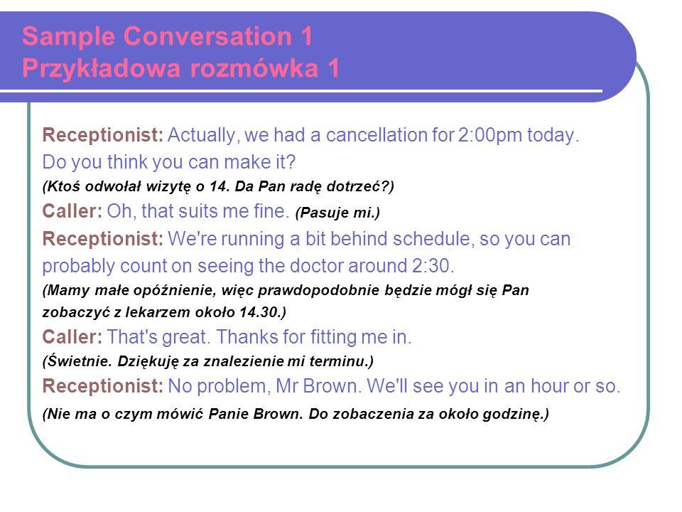 Sample Conversation 1 Przykładowa rozmówka 1