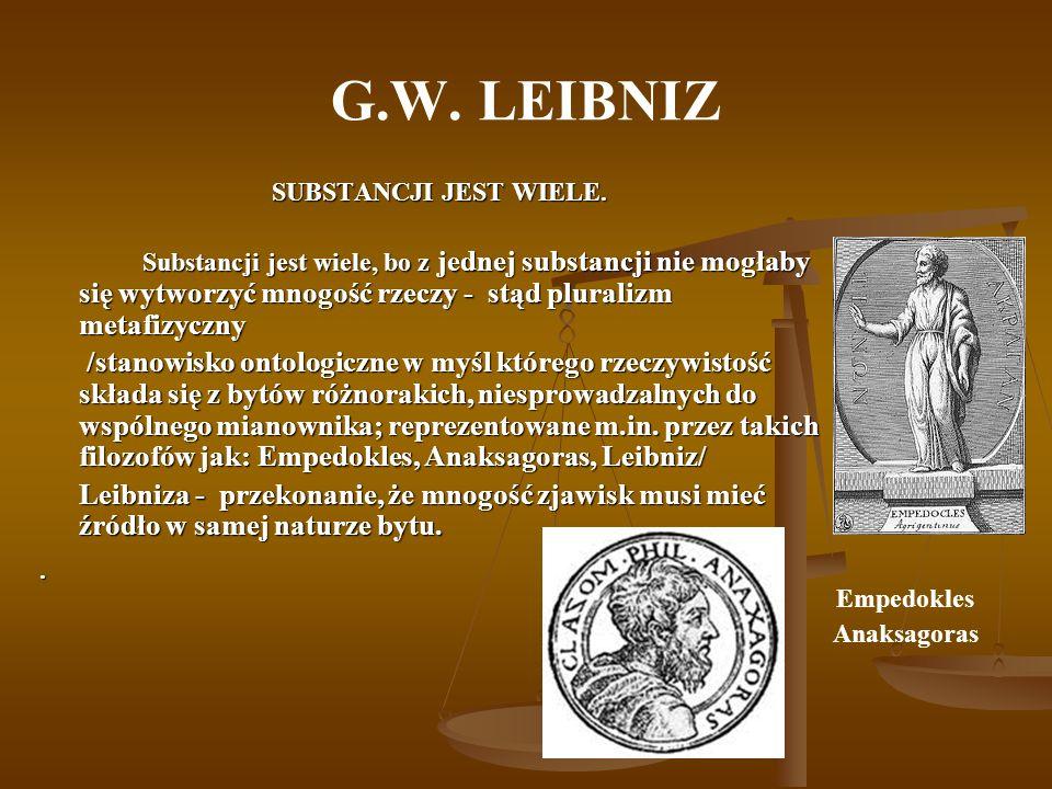 G.W. LEIBNIZSUBSTANCJI JEST WIELE.