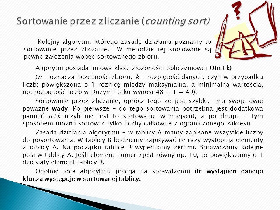 Sortowanie przez zliczanie (counting sort)