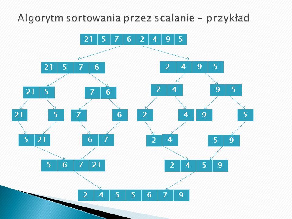 Algorytm sortowania przez scalanie - przykład
