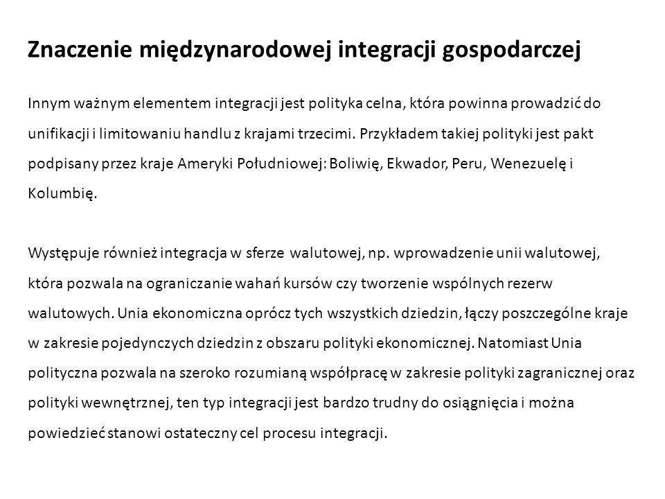 Znaczenie międzynarodowej integracji gospodarczej