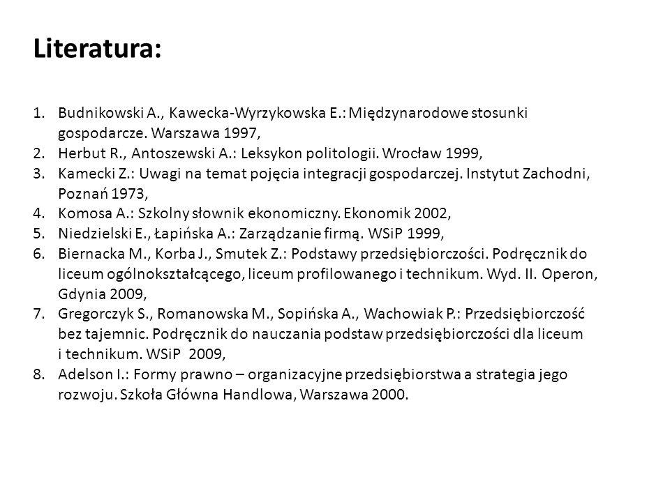 Literatura:Budnikowski A., Kawecka-Wyrzykowska E.: Międzynarodowe stosunki gospodarcze. Warszawa 1997,