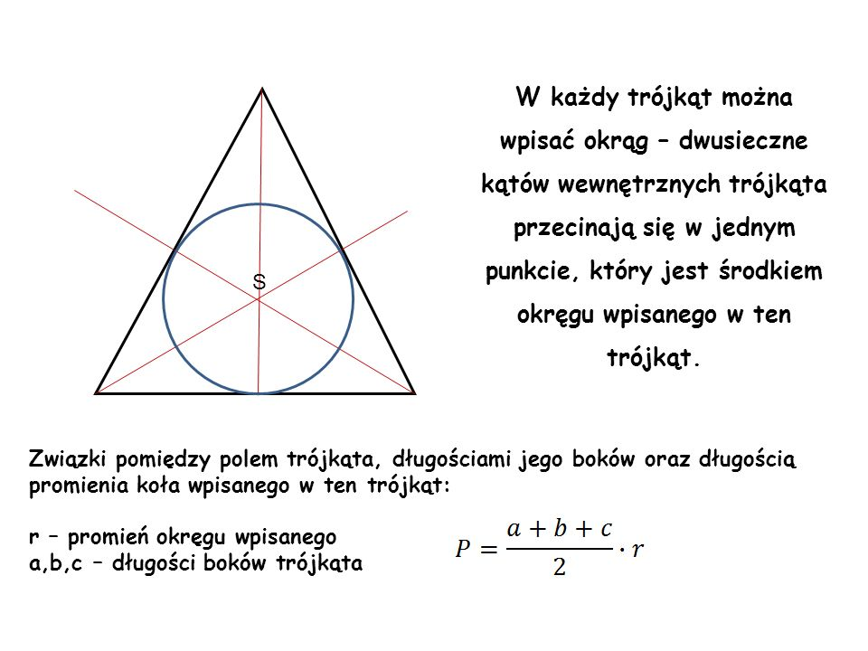wpisać okrąg – dwusieczne kątów wewnętrznych trójkąta
