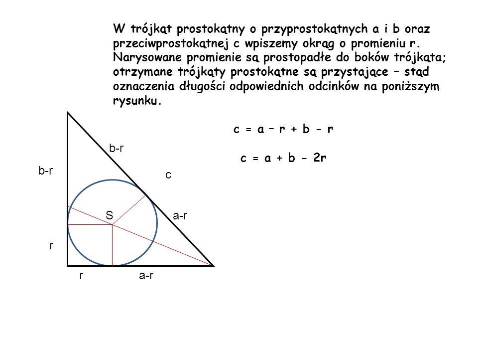 W trójkąt prostokątny o przyprostokątnych a i b oraz