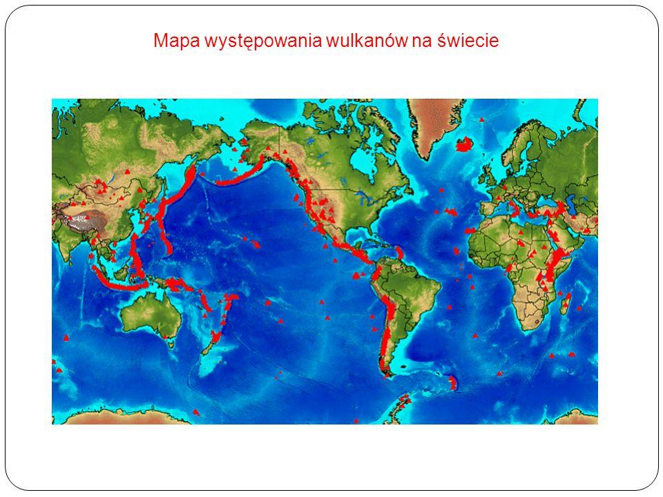 Mapa występowania wulkanów na świecie