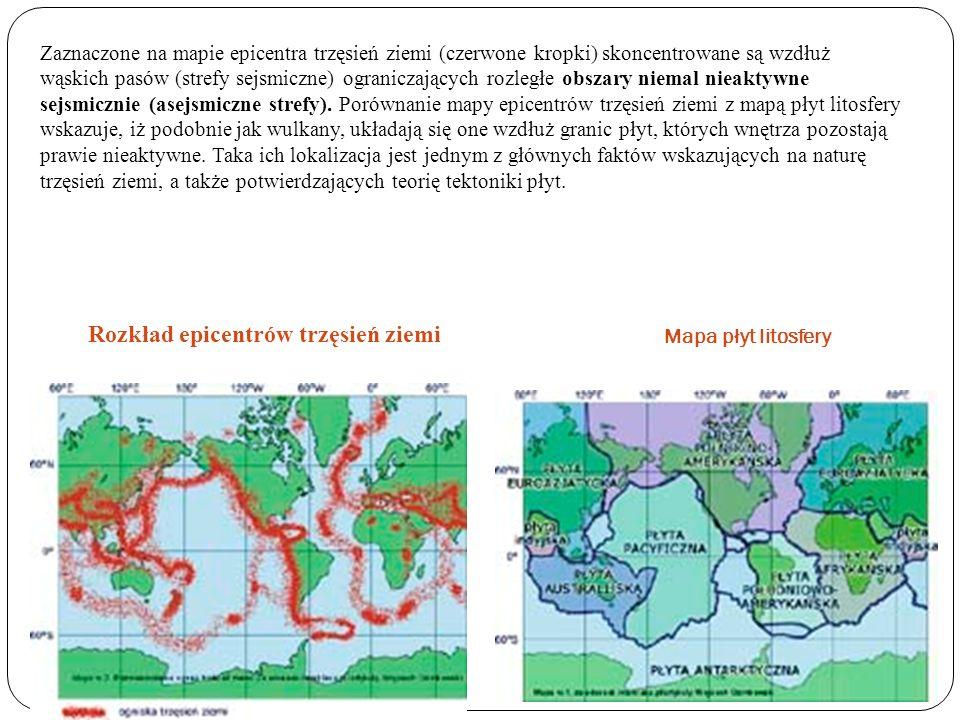 Rozkład epicentrów trzęsień ziemi