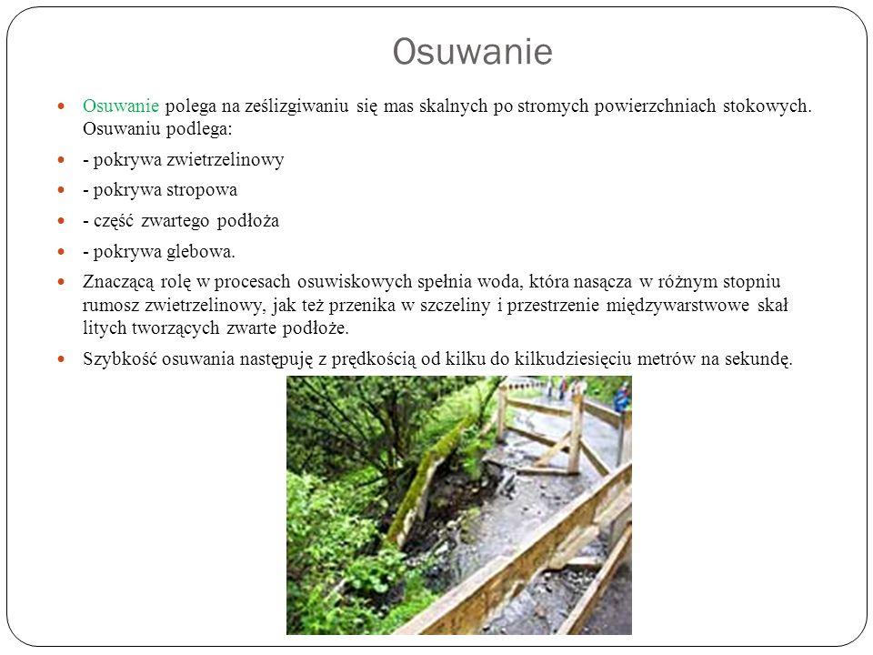 Osuwanie Osuwanie polega na ześlizgiwaniu się mas skalnych po stromych powierzchniach stokowych. Osuwaniu podlega: