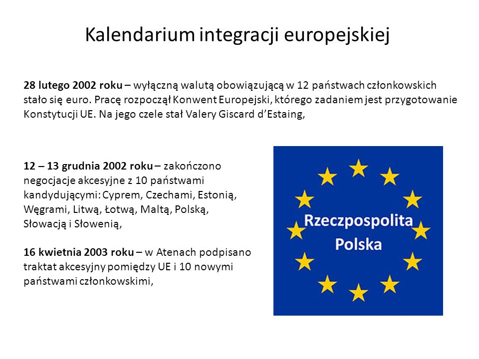 Kalendarium integracji europejskiej