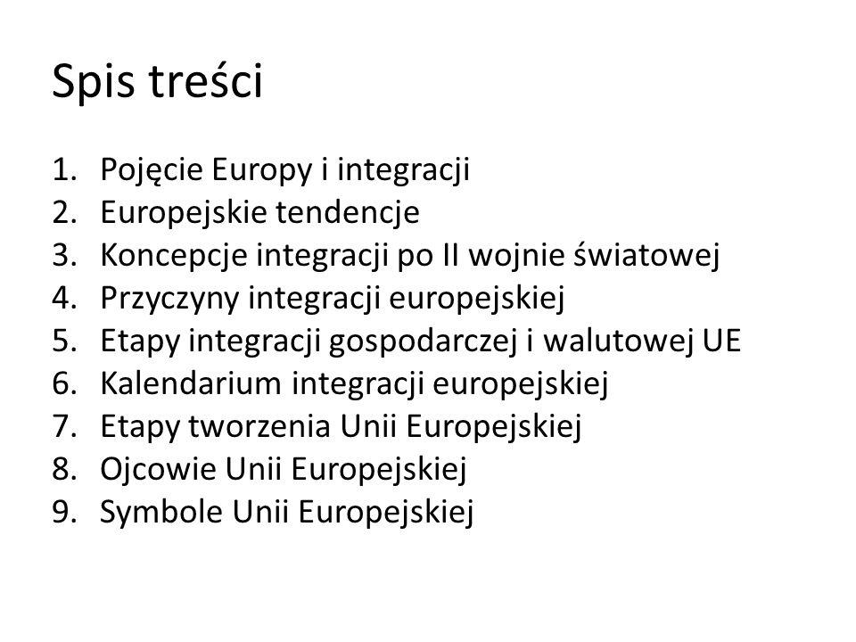 Spis treści Pojęcie Europy i integracji Europejskie tendencje