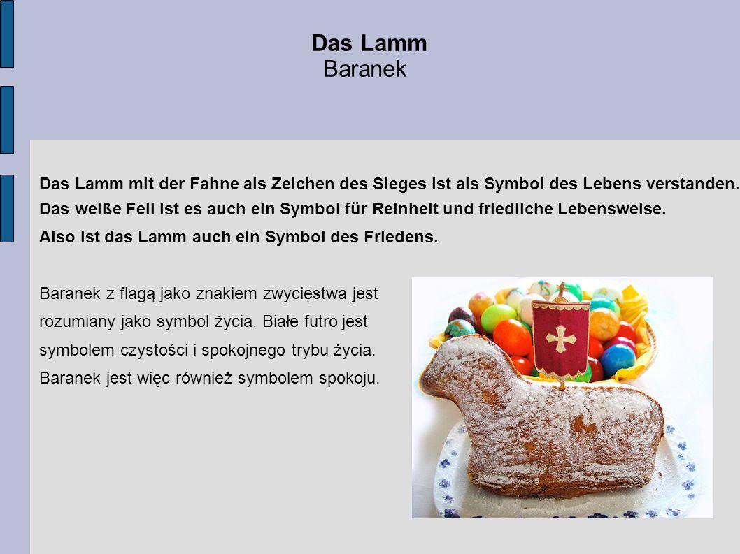 Das Lamm Baranek. Das Lamm mit der Fahne als Zeichen des Sieges ist als Symbol des Lebens verstanden.