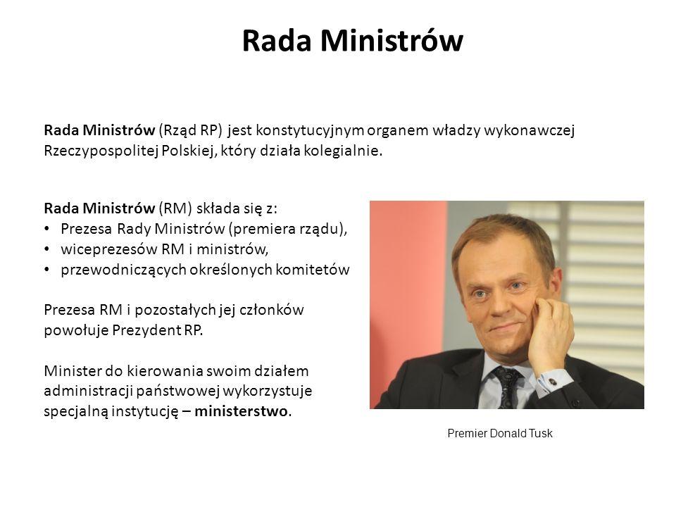 Rada Ministrów Rada Ministrów (Rząd RP) jest konstytucyjnym organem władzy wykonawczej Rzeczypospolitej Polskiej, który działa kolegialnie.