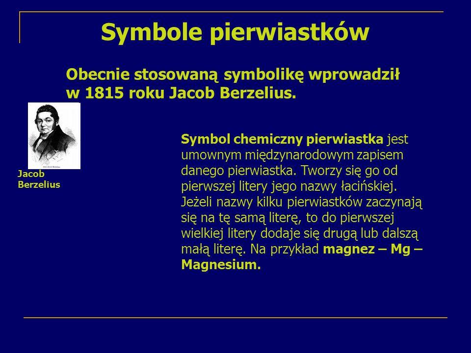 Symbole pierwiastków Obecnie stosowaną symbolikę wprowadził w 1815 roku Jacob Berzelius.