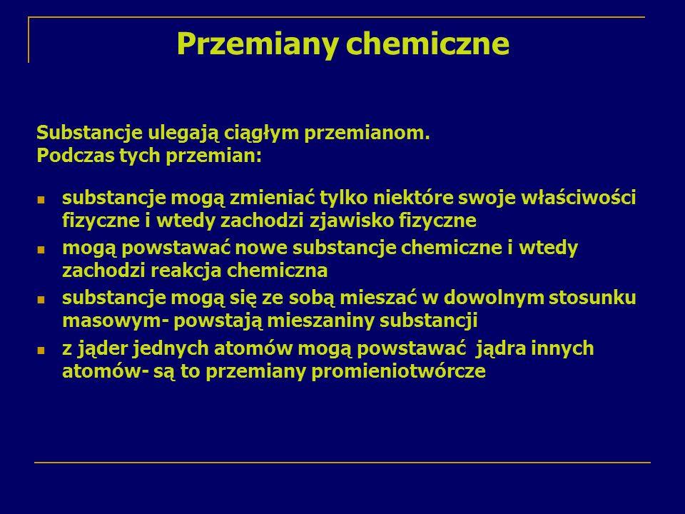 Przemiany chemiczne Substancje ulegają ciągłym przemianom. Podczas tych przemian: