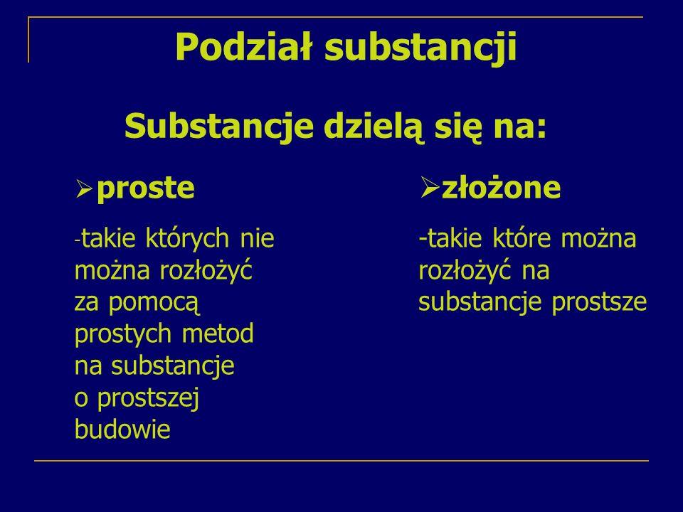 Substancje dzielą się na: