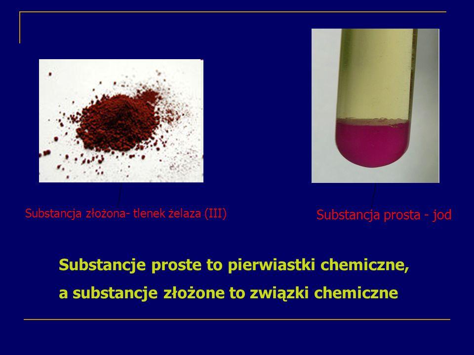 Substancje proste to pierwiastki chemiczne,