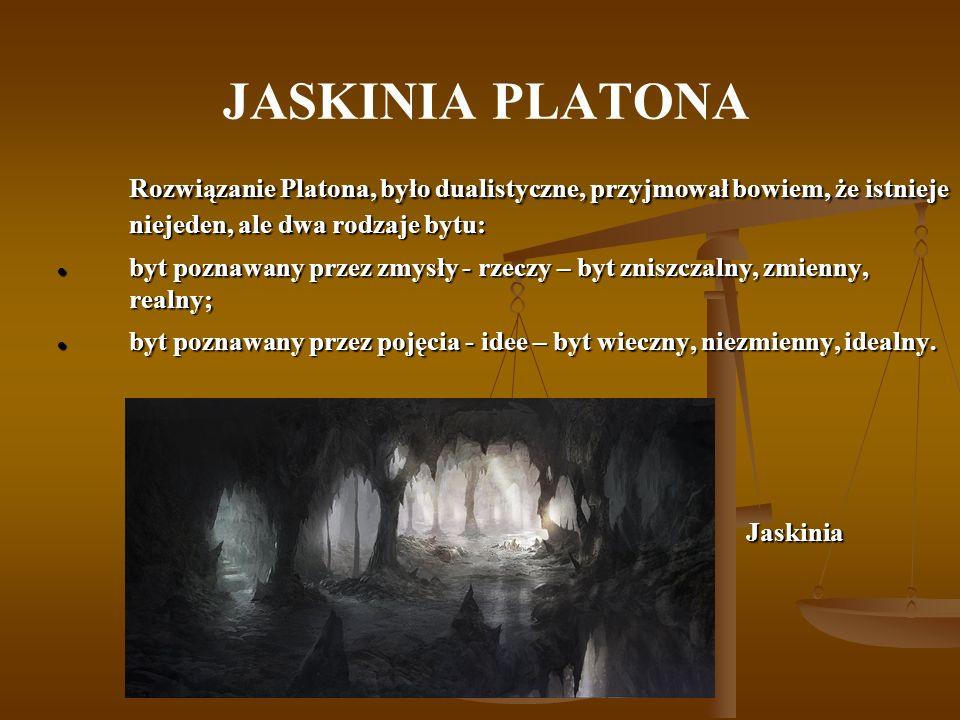JASKINIA PLATONA Rozwiązanie Platona, było dualistyczne, przyjmował bowiem, że istnieje niejeden, ale dwa rodzaje bytu: