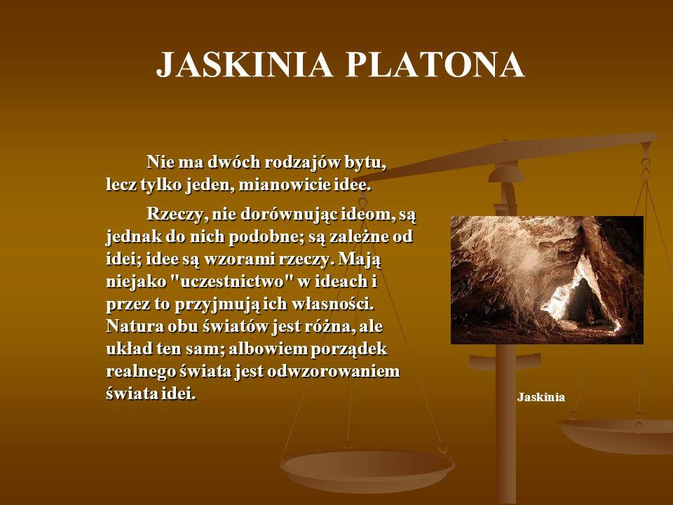 JASKINIA PLATONA Nie ma dwóch rodzajów bytu, lecz tylko jeden, mianowicie idee.