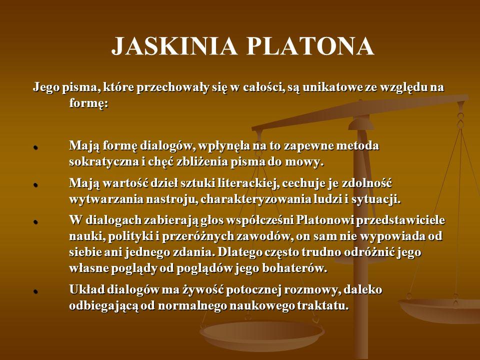 JASKINIA PLATONA Jego pisma, które przechowały się w całości, są unikatowe ze względu na formę: