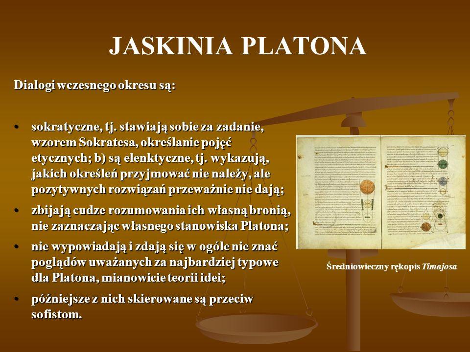 JASKINIA PLATONA Dialogi wczesnego okresu są: